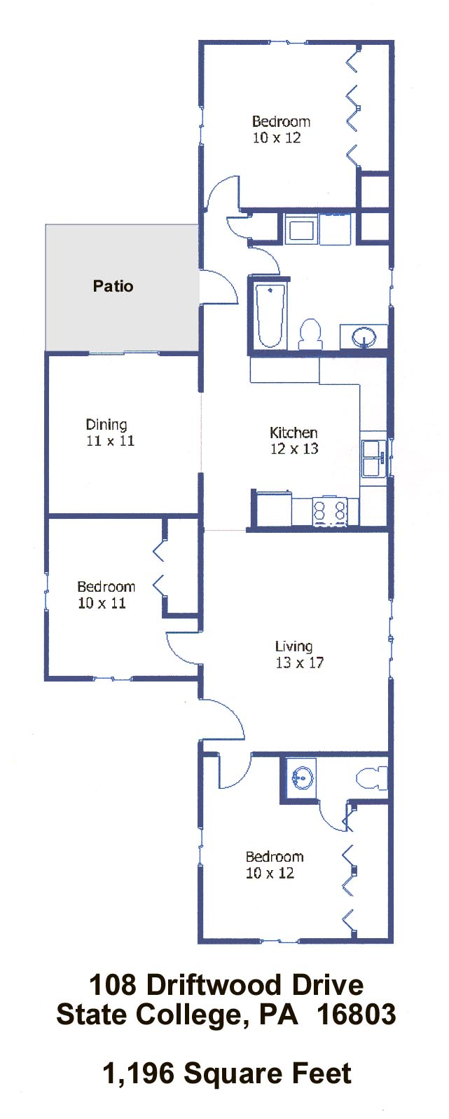 Floor plan of the affordable 3-bedroom house at 108 Driftwood Drive in State College, PA