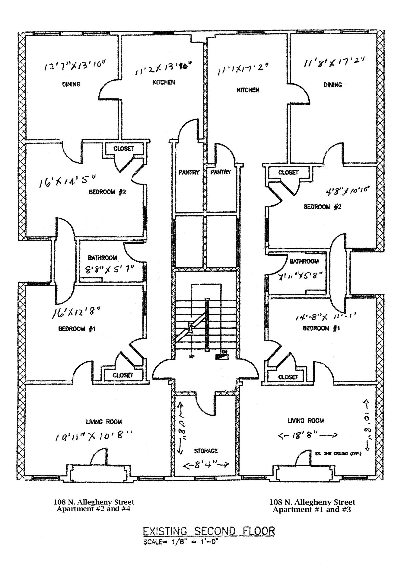 Floor plan of the 2 bedroom professional apartments for rent at 108 North Allegheny Street, Bellefonte