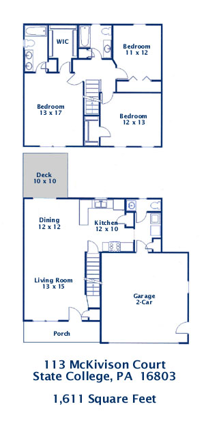 Floor plan of the 3 bedroom house for rent at 113 McKivision Court, State College