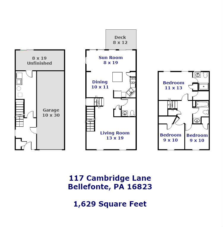 Floor plan of the 3 bedroom townhouse for rent at 117 Cambridge Lane in Bellefonte, PA