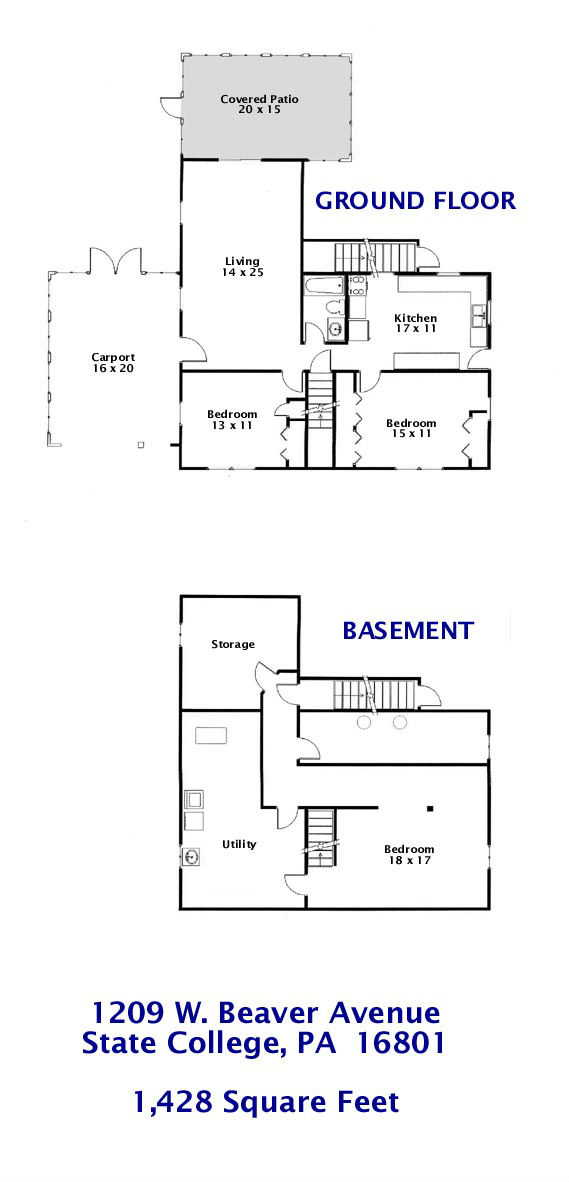 Floor plan of the 2-bedroom apartment-house at 1209 West Beaver Avenue in State College, PA