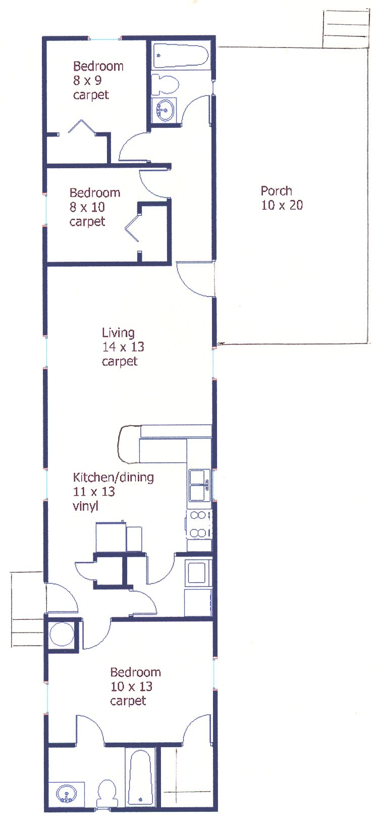 Floor plan of the 3 bedroom house for rent at 123 Driftwood Drive, State College