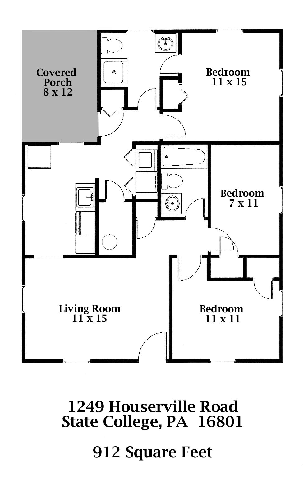 Floor plan of the small 3-bedroom house for rent at 1249 Houserville Road in State College PA