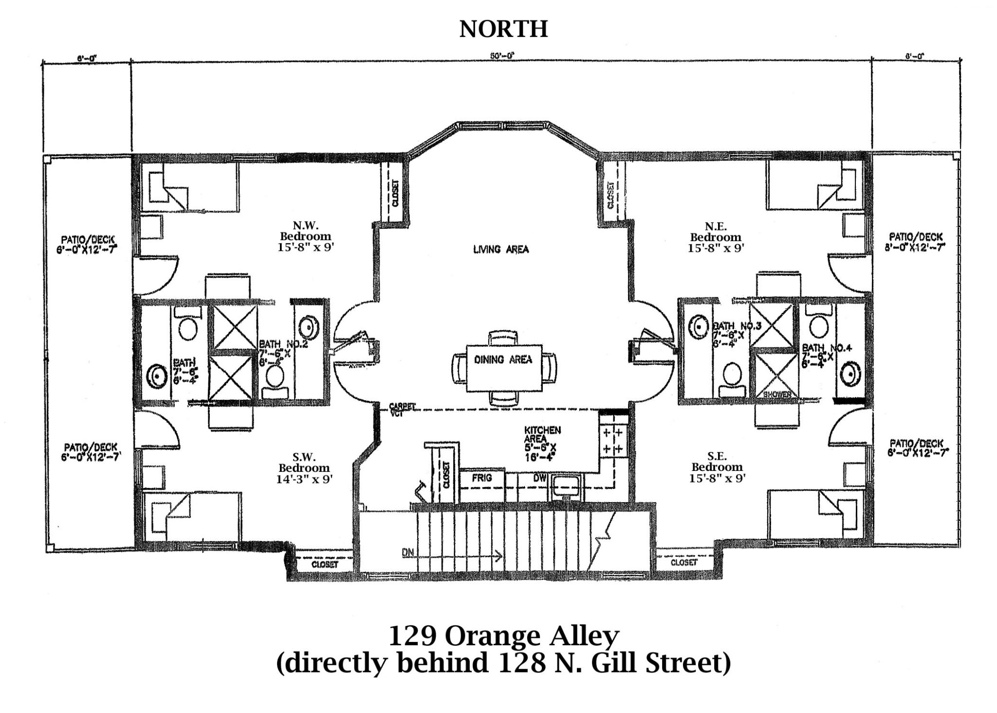 4 bedroom student apartment Floor Plan