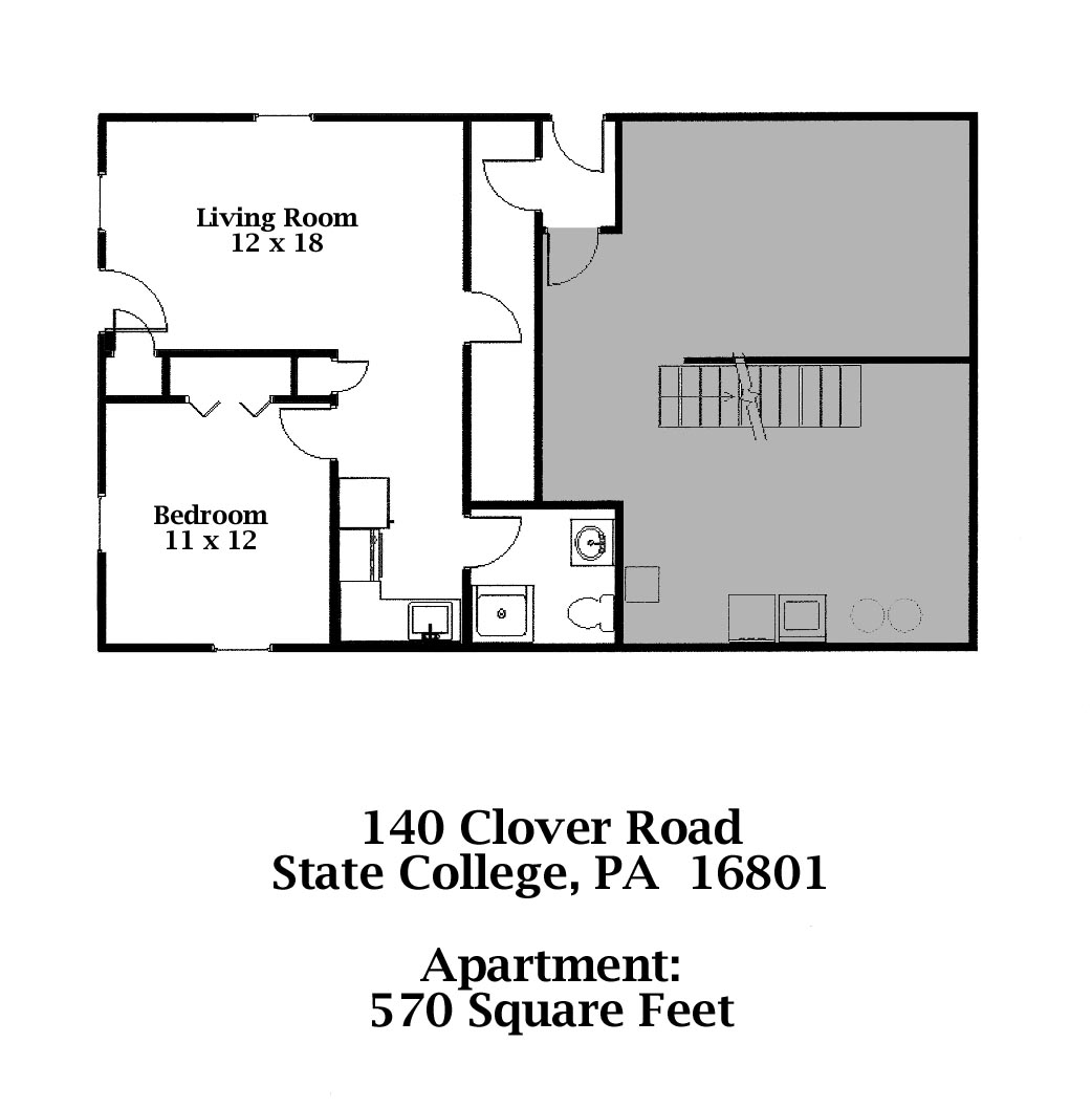 Floor plan of the 1-bedroom professional apartment for rent at 140-B Clover Road in State College, PA