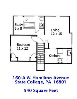 Floor plan of the graduate 1-bedroom apartment at 160-A West Hamilton Avenue in State College, PA