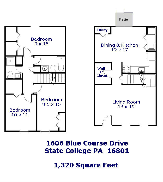 Floor plan of the 3 bedroom townhouse for rent at 1606 Blue Course Drive, State College, PA