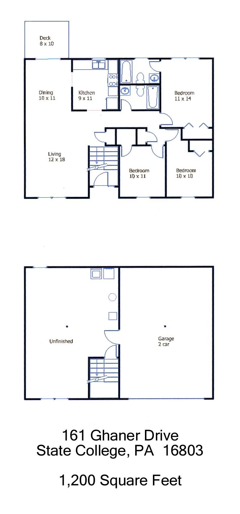 Floor plan of the 3 bedroom house for rent at 161 Ghaner Drive, State College PA
