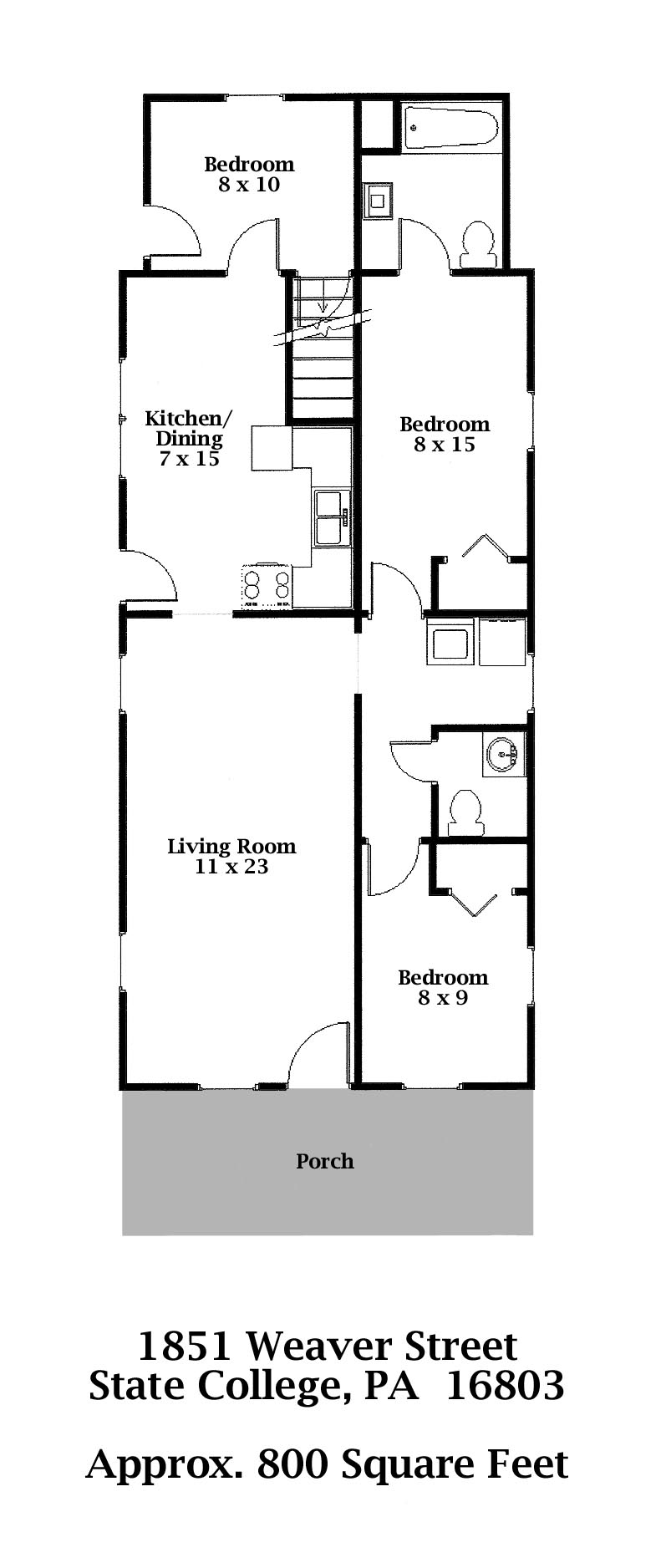 Floor plan of the 3-bedroom home for rent at 1851 Weaver Street in State College, PA