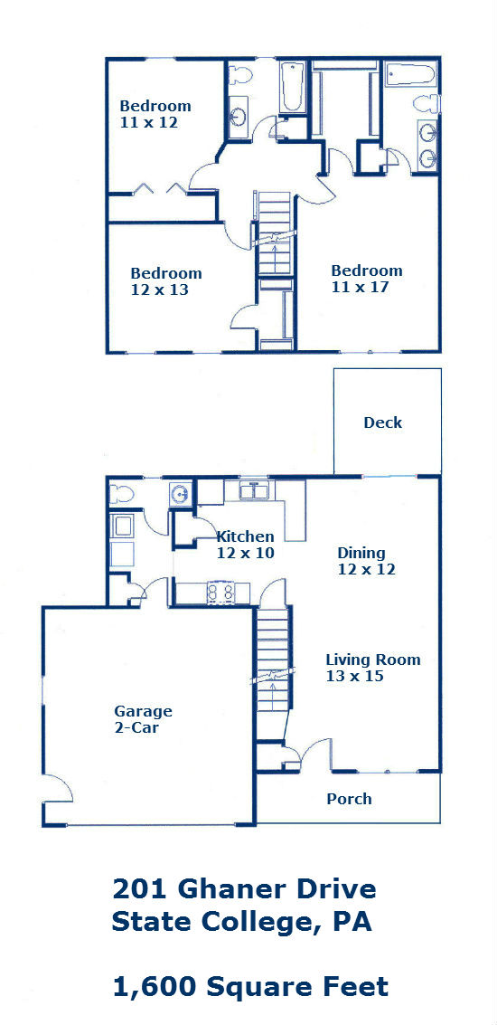 Floor plan of the 3 bedroom house for rent at 201 Ghaner Drive in State College PA