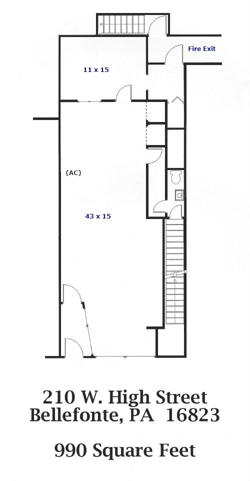 Floor plan of the retail space for rent at 210 W. High Street, Bellefonte