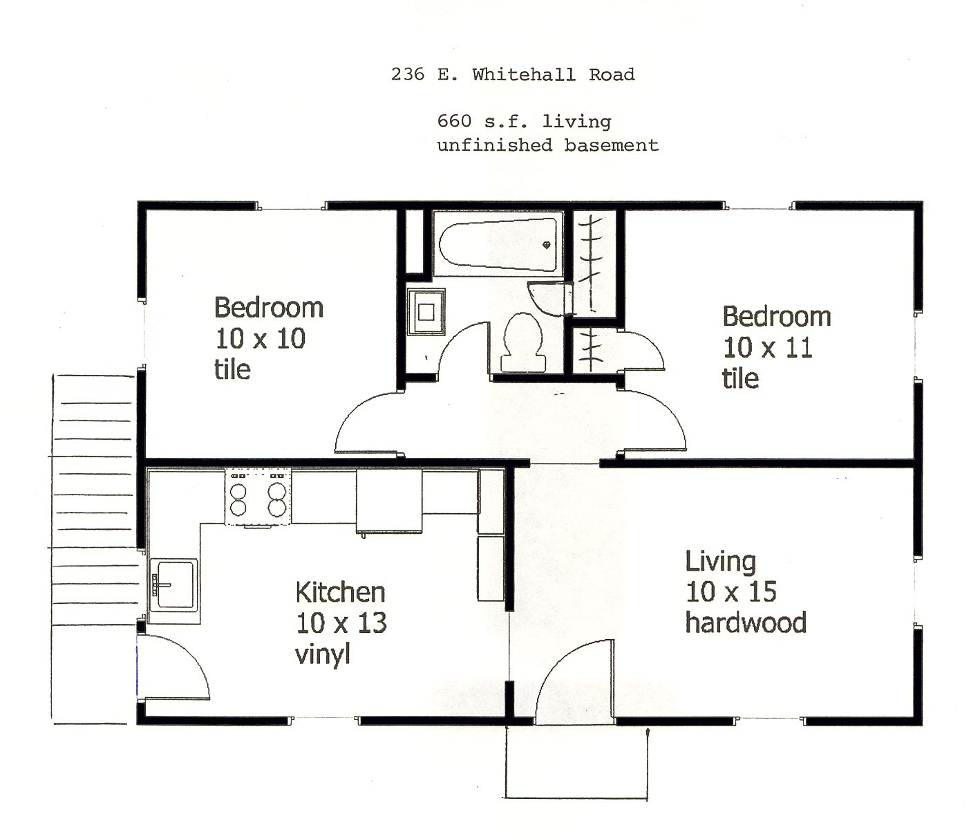 Floor plan of the small 2-bedroom house for rent at 236 East Whitehall Road in State College PA