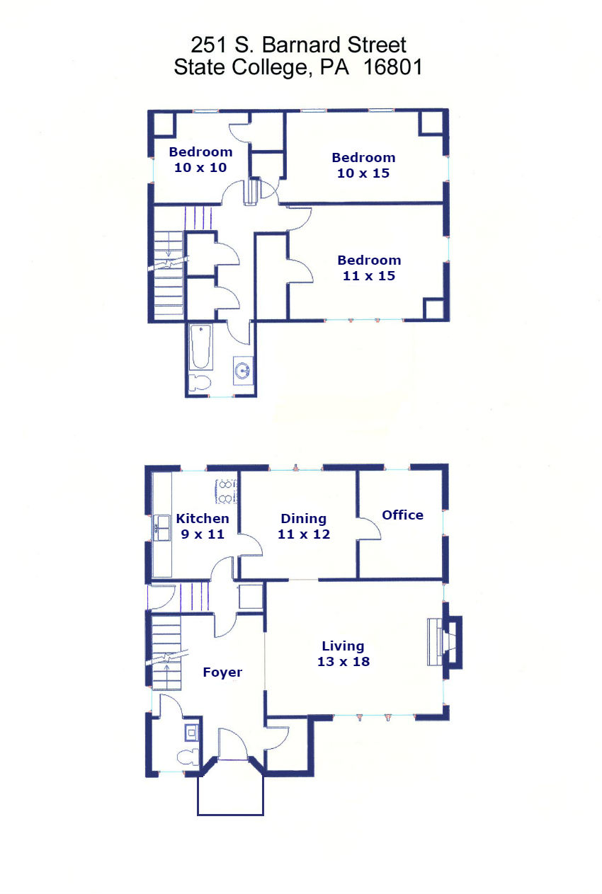Floor plan of the 3-bedroom single family home for rent at 251 South Barnard Street in State College, PA