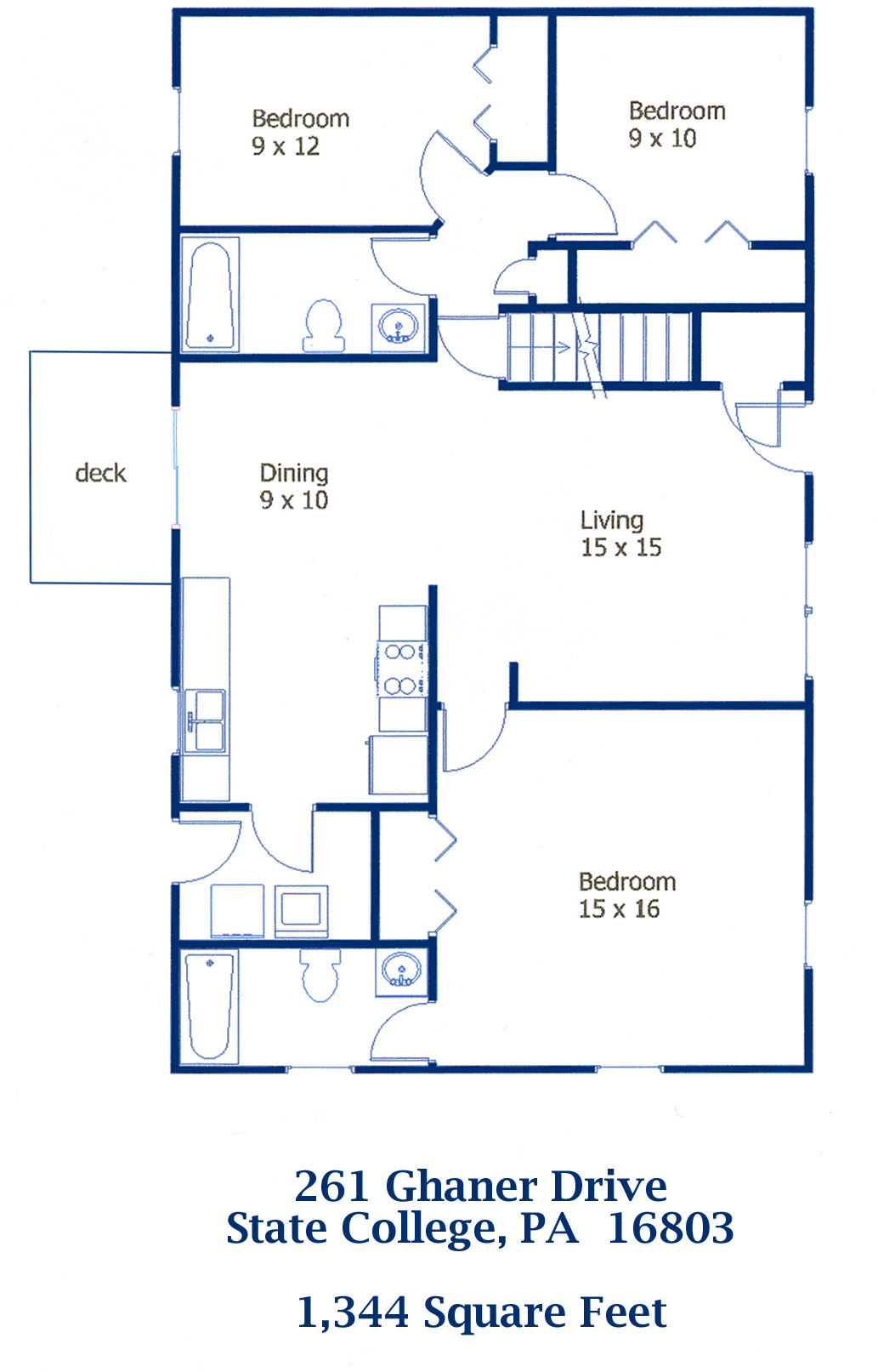 Floor plan of the 3-bedroom house for rent at 261 Ghaner Drive, State College PA  16803