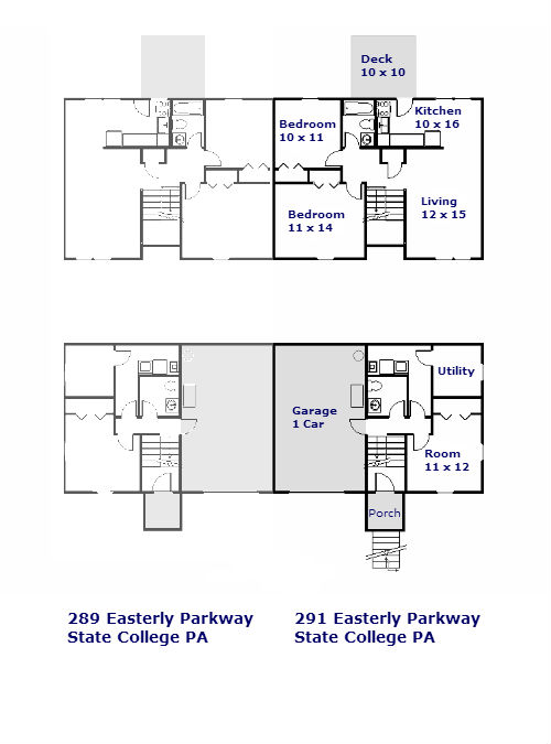 Floor plan of the 3-bedroom duplex for rent at 289-291 Easterly Parkway in State College PA