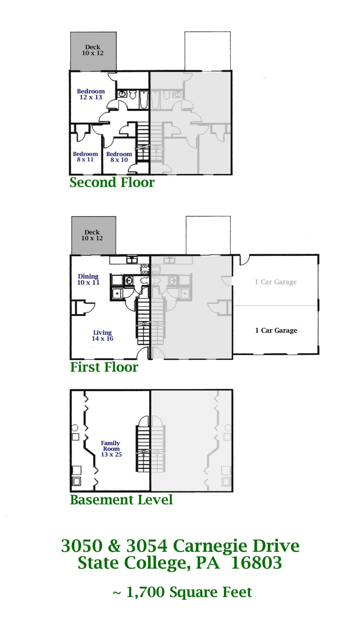Floor plan of the 3 bedroom duplex for rent at 3050-3054 Carnegie Drive