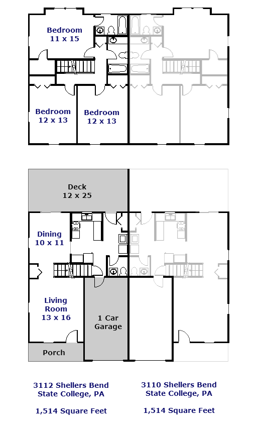 Floor plan of the 3 bedroom duplex for rent at 3110-3112 Shellers Bend, State College PA
