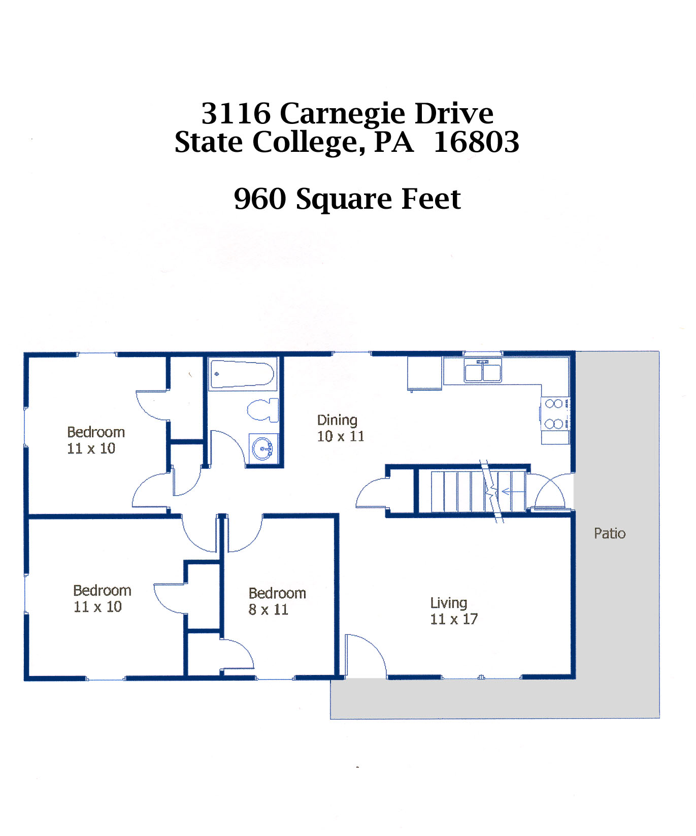 Floor plan of the 3-bedroom house for rent at 3116 Carnegie Drive in State College, PA