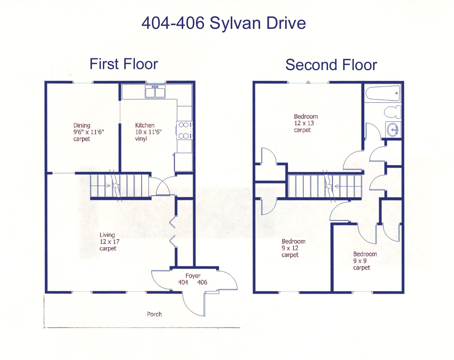 Floor plan of the professional duplex for rent at 404-406 Sylvan Drive, State College PA