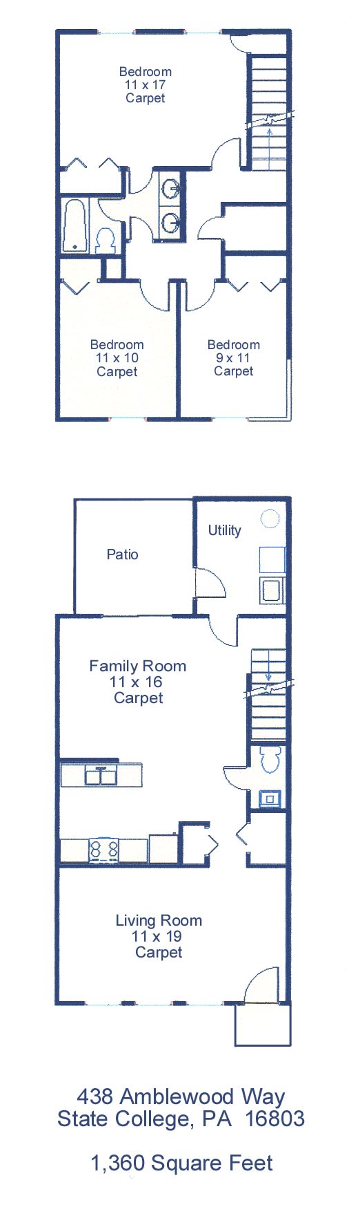 Floor plan of the professional 3-bedroom townhouse for rent at 438 Amblewood Way in State College PA