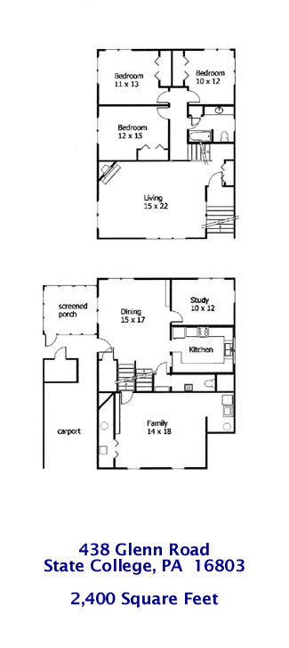 Floor plan of the professional 3 bedroom house for rent at 438 Glenn Road in State College PA