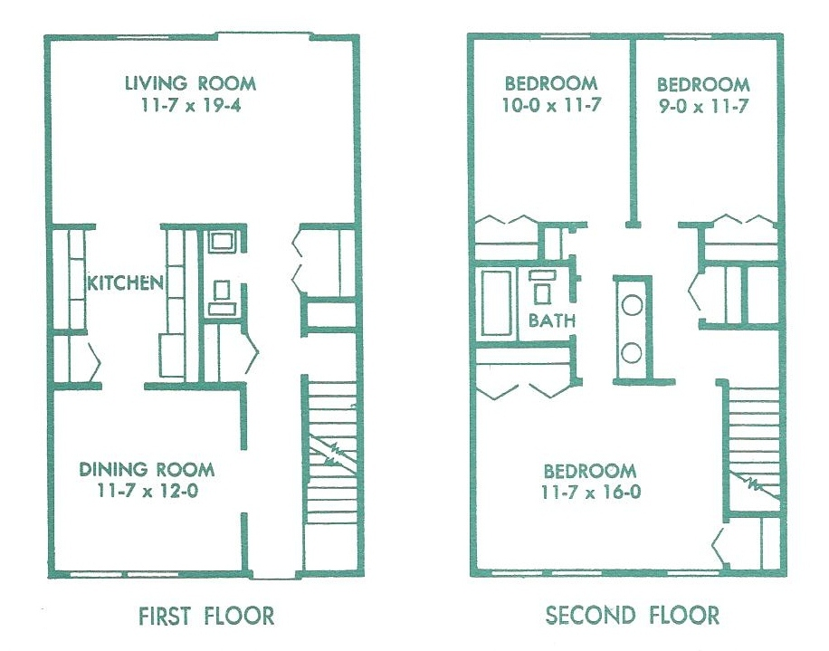 Floor plan of the 3 bedroom townhouse for rent at 448 Amblewood Way in State College PA