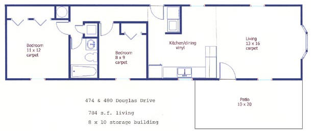 Floor plan of the 2 bedroom mobile home for rent at 474 Douglas Drive and 480 Douglas Drive in State College, PA 16803
