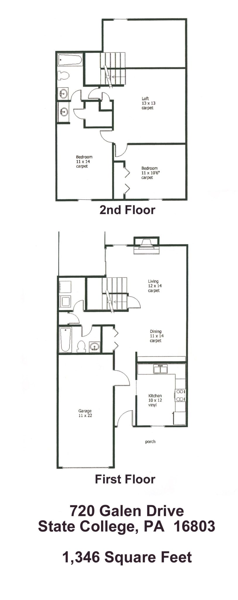 Floor plan of the 2-bedroom townhouse for rent at 720 Galen Drive in State College PA