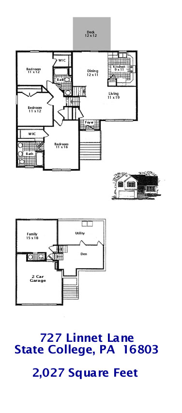 Floor plan of the 3 bedroom home for rent at 727 Linnet Lane in State College, PA 16803