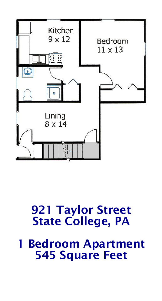 Floor plan for the 1 bedroom student apartment at 921 Taylor Street