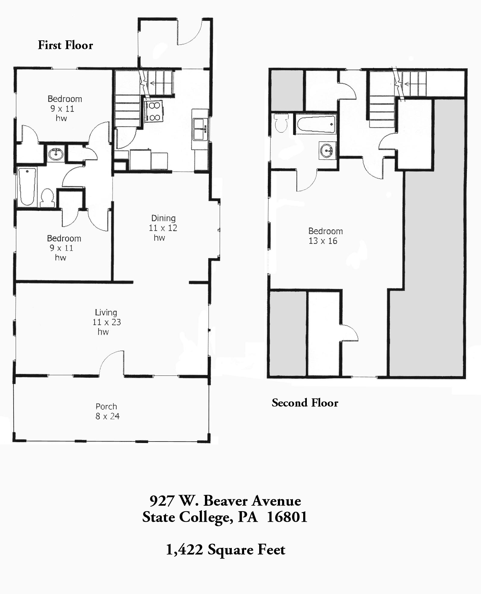 Floor plan of the 3-bedroom home for rent at 927 West Beaver Avenue, State College PA 16801