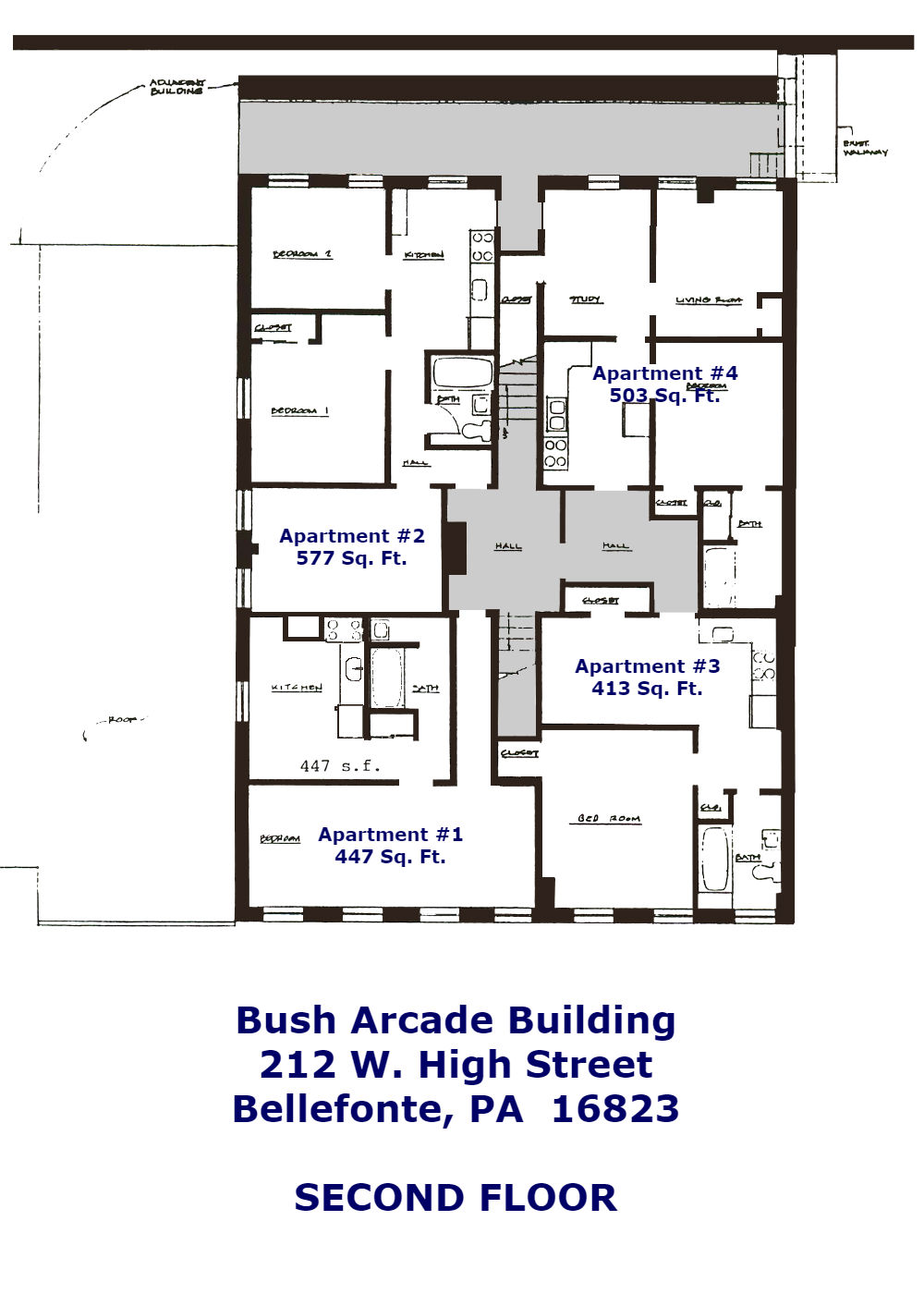 212 W. High Street 2nd Floor Plans