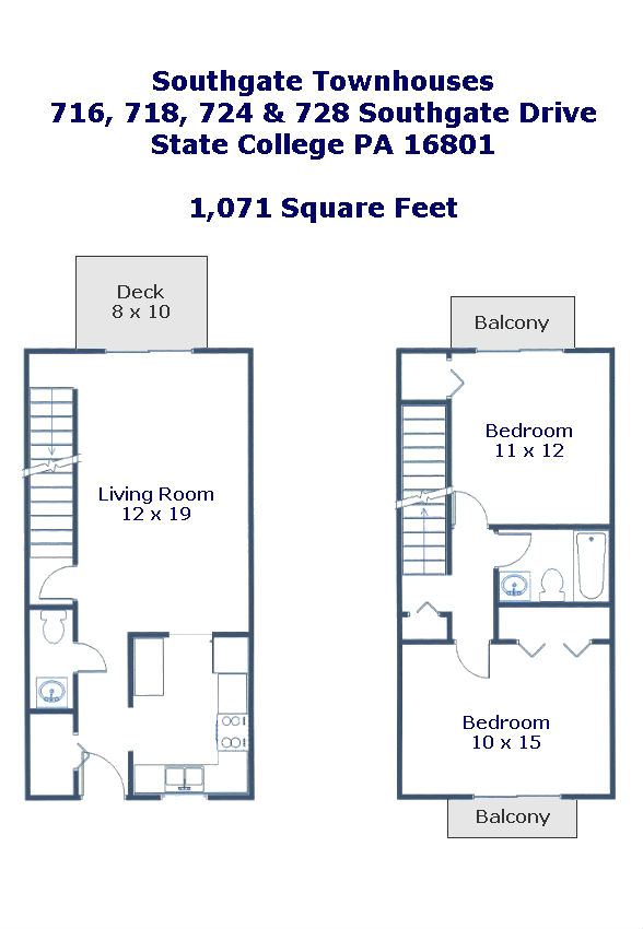 Floor plan of the 2 bedroom townhouses for rent at Soutgate Condominium Association