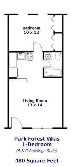 Park Forest Villas, professional 1-bedroom apt floor plan #2