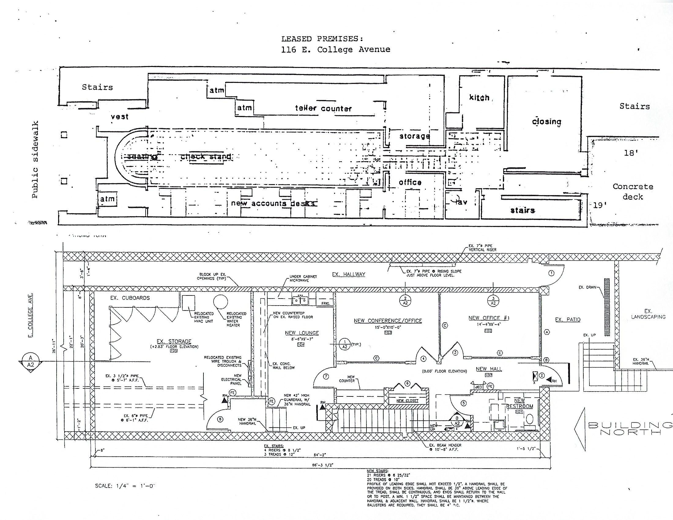 Floor plan of the retail space for rent at 116 East College Avenue in downtown State College, PA