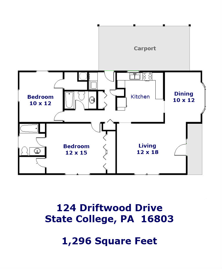 Floor plan of the 2 bedroom home for rent at 124 Driftwood Drive in State College, PA