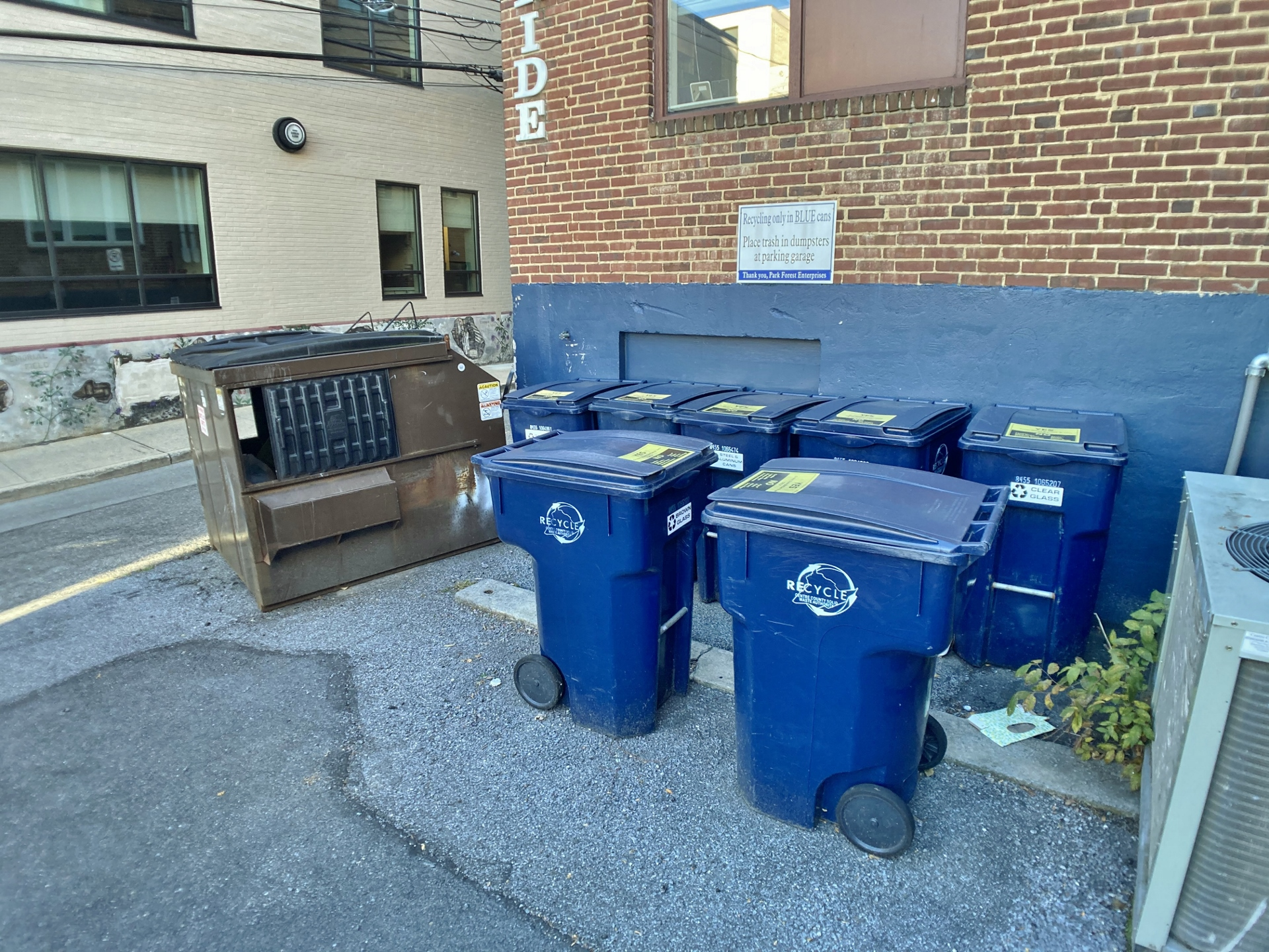 Fromm Building, Trash and Recycling Area